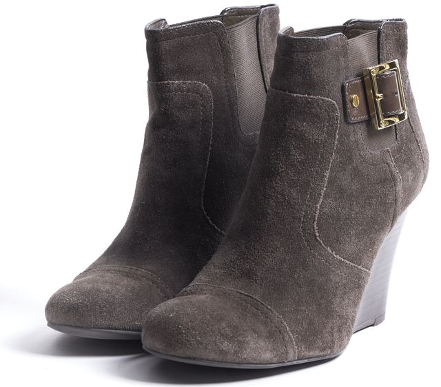 TORY BURCH Brown Suede Wedged Chelsea Boots