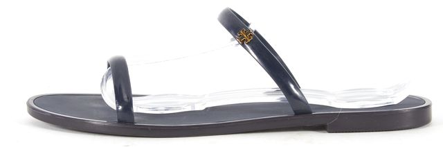 TORY BURCH Navy Blue Rubber Double Strap Flat Sandals