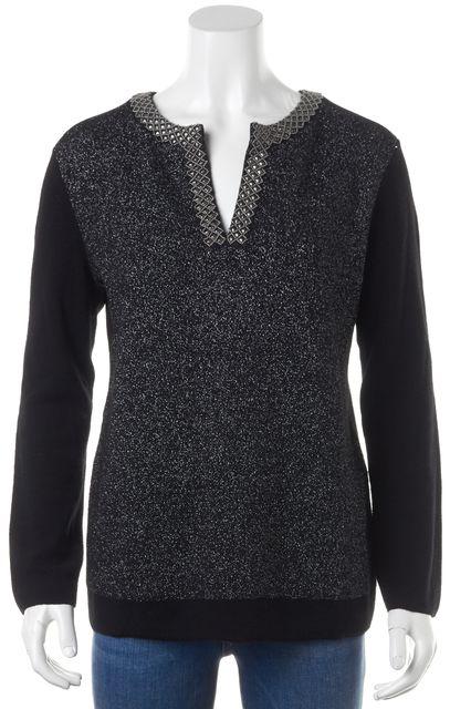 TORY BURCH Black Metallic Tunic Sweater