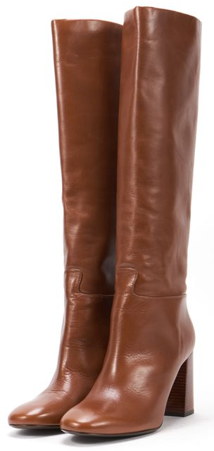 TORY BURCH Brown Leather Stacked Heel Knee-High Boots