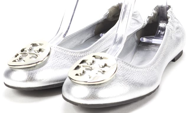 TORY BURCH Silver Leather Double-T Medallion Ballet Flats