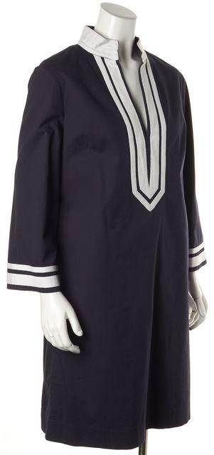 TORY BURCH Navy Blue White Long Sleeve Shift Dress