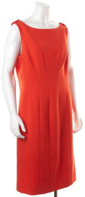 TORY BURCH Orange Wool Sleeveless Sheath Dress