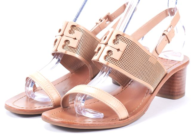 TORY BURCH Beige Perforated Leather Sandal Block Heels