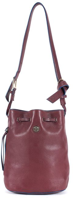 TORY BURCH Burgundy Red Leather Crossbody Bucket Bag