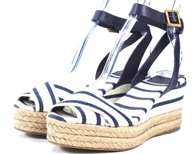 TORY BURCH Blue White Striped Canvas Leather Trim Espadrille Wedges