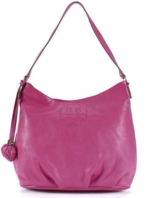 TORY BURCH Fuchsia Pink Pebbled Leather Tassel Shoulder Bag