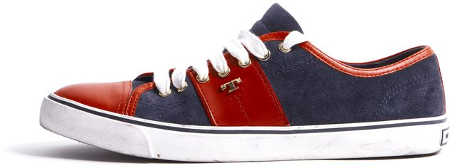 TORY BURCH Red Navy Blue Color Block Leather Suede Sneakers