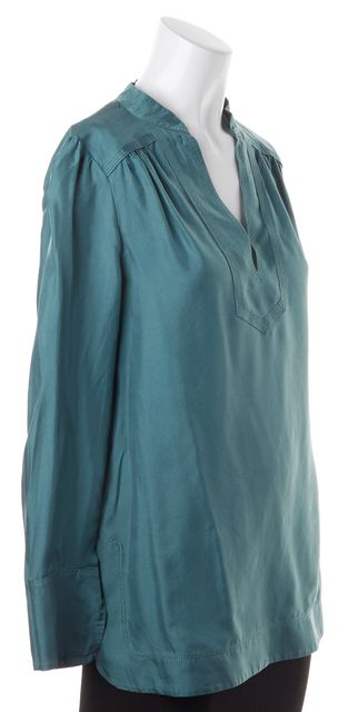 TORY BURCH Turquoise Blue Satin Silk Long Sleeve Tunic Top