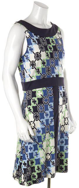 TORY BURCH Blue Green Black Geometric Silk Sleeveless Sheath Dress