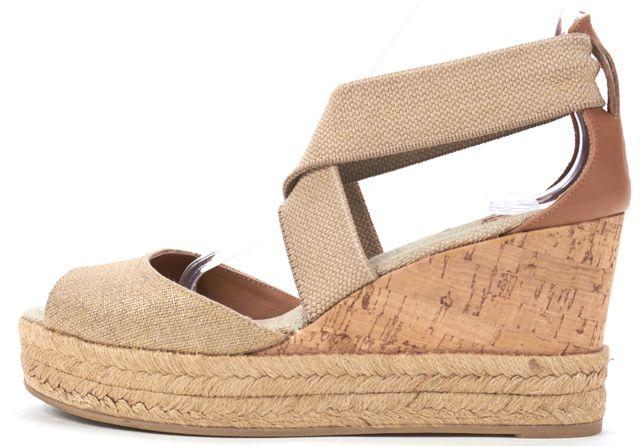 TORY BURCH Beige Canvas Espadrille Cork Wedge Sandals