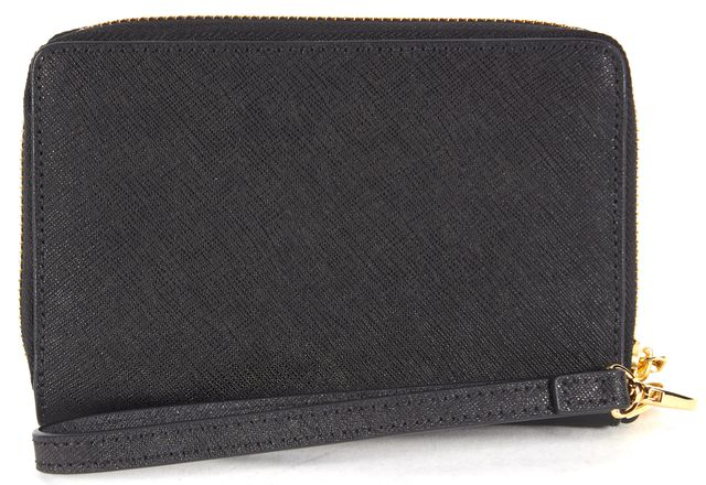 TORY BURCH Black Saffiano Leather Zip Around Wristlet Wallet