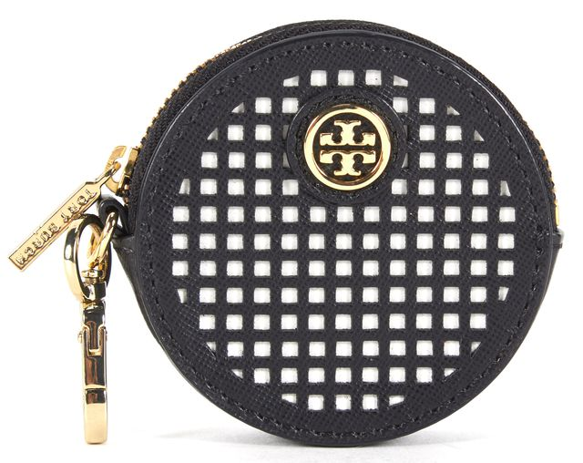 TORY BURCH Black White Saffiano Leather Coin Pouch Key Chain