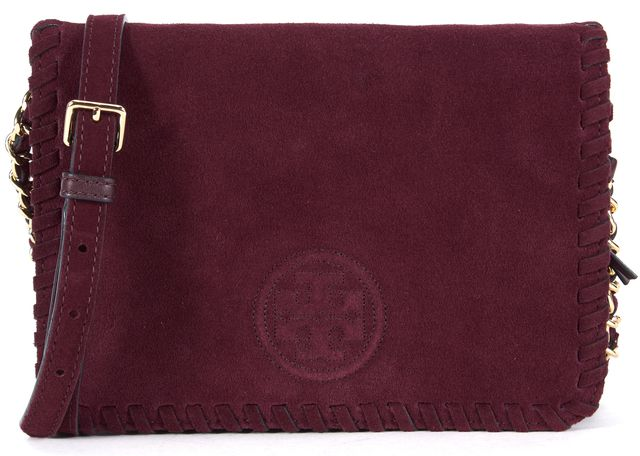 TORY BURCH Plum Purple Suede Leather Gold Adjustable Chain Strap Crossbody