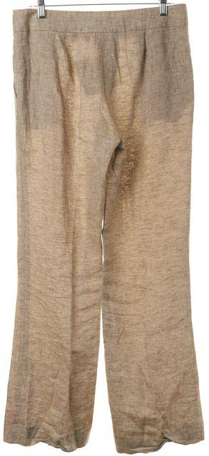 TORY BURCH Beige Linen Gold Tone Logo Button Trousers Pants