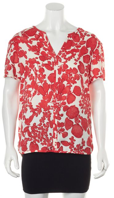 TORY BURCH Ivory Red Floral V-Neck Short Sleeve Blouse Top
