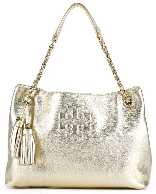 TORY BURCH Metallic Gold Leather Chain Strap Thea Slouchy Shoulder Bag