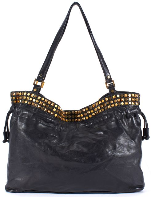 TORY BURCH Black Brass Rock Stud Embellished Shoulder Bag