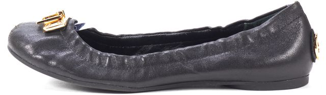 TORY BURCH Black Leather Gold Tone Hardware Ballet Flats