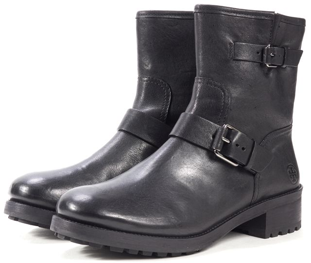 TORY BURCH Black Leather Motorcycle Ankle Boots