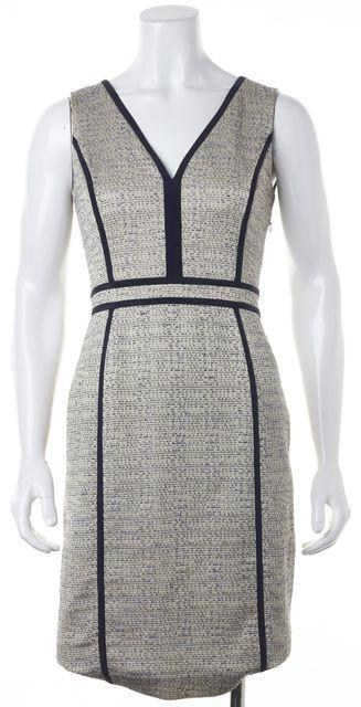 TORY BURCH Beige Navy Blue Sleeveless V-Neck Sheath Dress