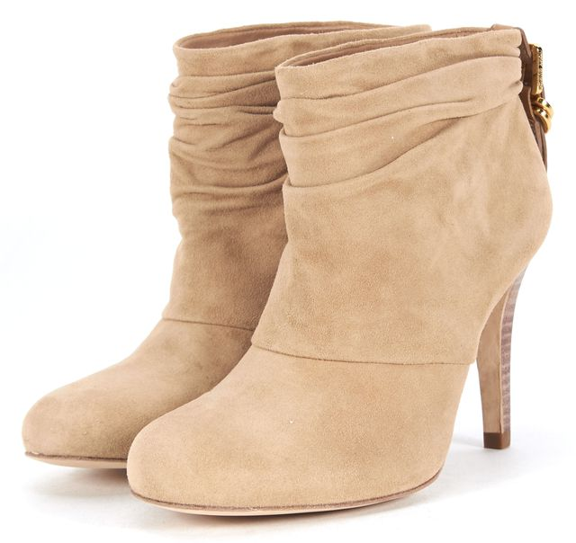 TORY BURCH Beige Suede Round Toe Stacked Heel Ankle Boots