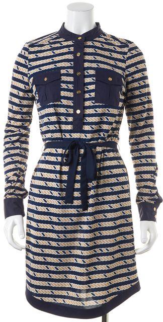 TORY BURCH Navy Blue Beige Striped Button Up Tie Shift Dress