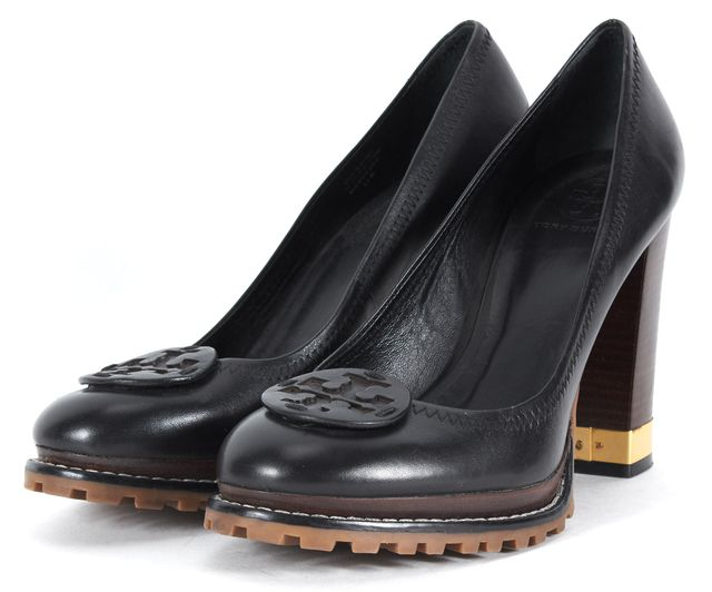 TORY BURCH TORY BURCHBlack Leather Wooden Block Heel Pump