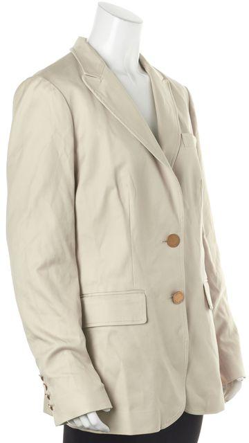 TORY BURCH Beige Stretch Cotton Double Button Blazer