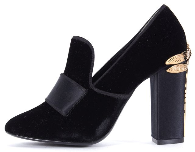 TORY BURCH Black Velvet Dragonfly Chunky Loafer Heels