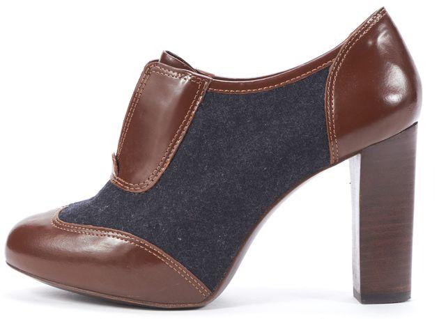 TORY BURCH Brown Gray Leather Felt Trim Platform Booties
