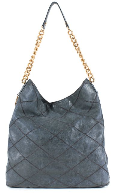 TORY BURCH Navy Blue Leather Gold Chain Strap Lysa Hobo Bag