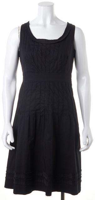 TORY BURCH Black Pleated Sleeveless Knee-Length Sheath Dress