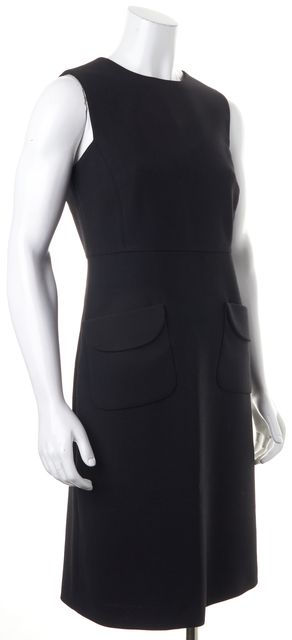 TORY BURCH Black Sleeveless Pocket Front Knee-Length Sheath Dress