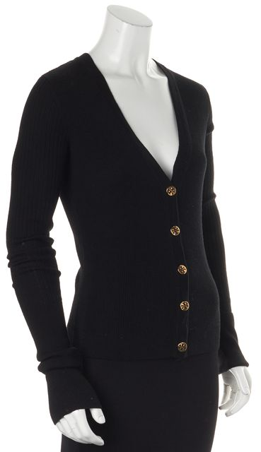 TORY BURCH Black Ribbed Merino Wool Button Front Cardigan