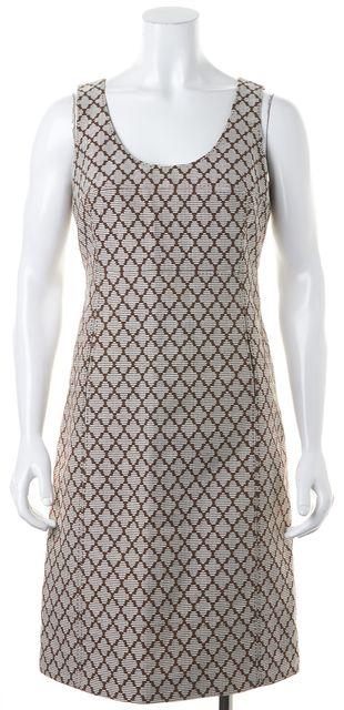 TORY BURCH Brown White Geometric Cotton Knee-Length Sheath Dress