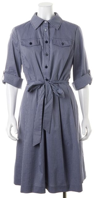 TORY BURCH Navy Blue Gingham Belted Blythe Shirt Dress