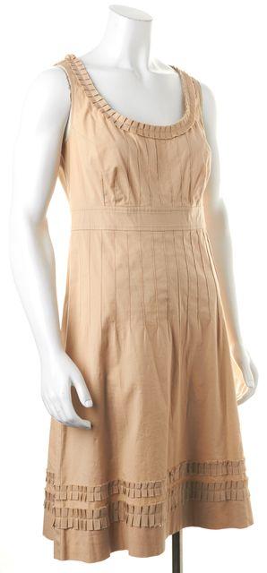 TORY BURCH Beige Stretch Cotton Sleeveless Knee-Length Shift Dress