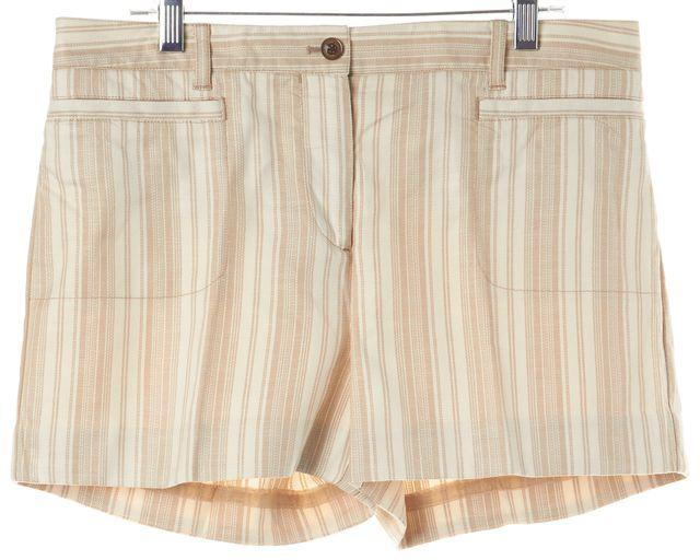TORY BURCH Beige Striped Stretch Cotton Casual Shorts