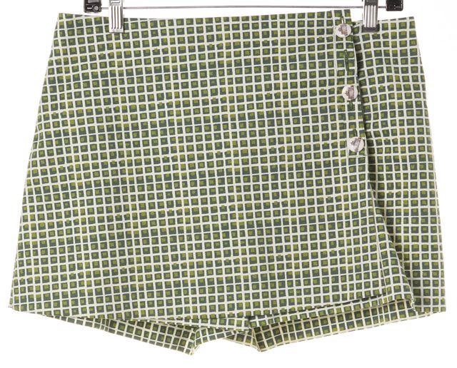 TORY BURCH Green White Checkered Stretch Cotton Wrap Skort