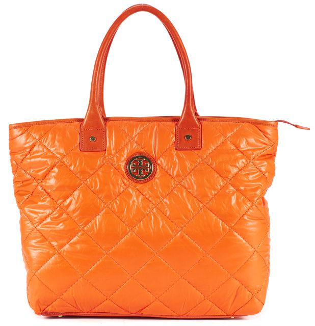 TORY BURCH Orange Quitted Nylon Leather Trim Tote