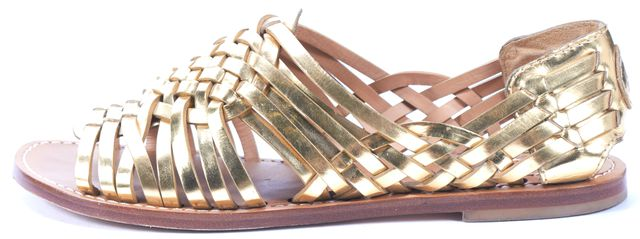 TORY BURCH Gold Woven Leather Flat Sandals