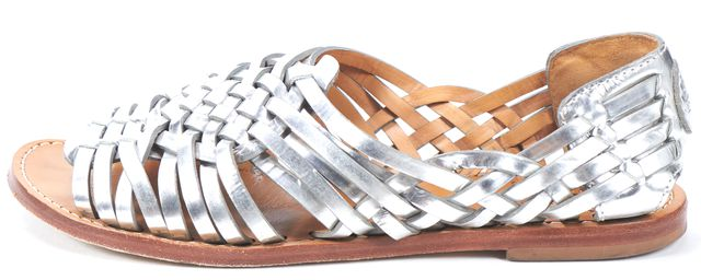 TORY BURCH Silver Woven Leather Flat Sandals