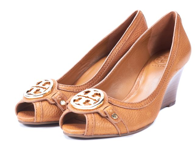 TORY BURCH Brown Pebbled Leather Peep Toe Leticia Wedges