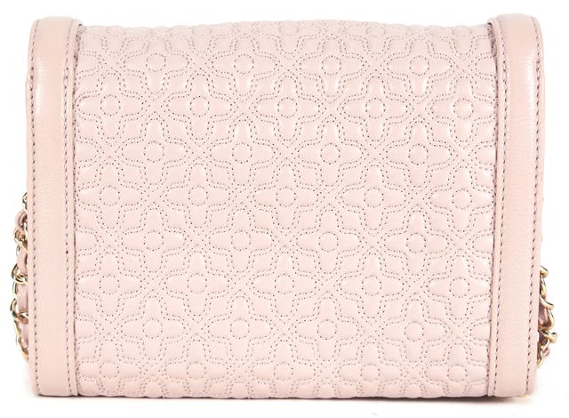 TORY BURCH Pale Pink Floral Embroidered Leather Adjustable Strap Crossbody