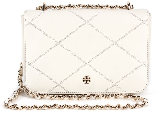 TORY BURCH White Chainlink Strap Genuine Leather Crossbody Bag