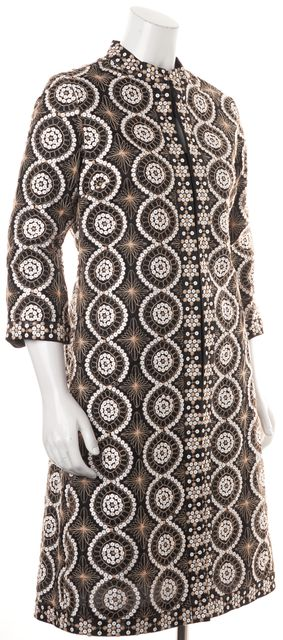 TORY BURCH Black White Beige Sequin Embellished Embroidered Dress Coat