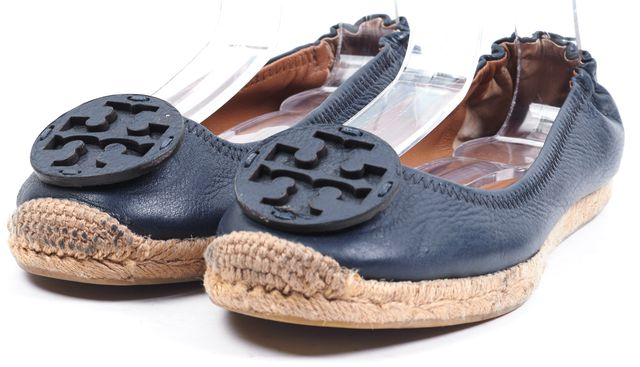 TORY BURCH Navy Blue Leather Double T Logo Espadrille Flats