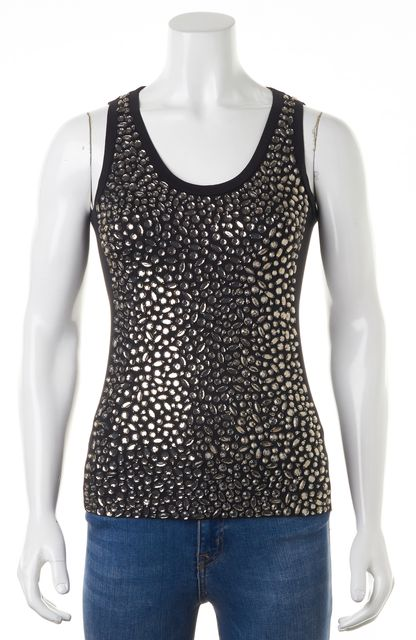 TORY BURCH Black Crystal Embellished Sleeveless Blouse Top