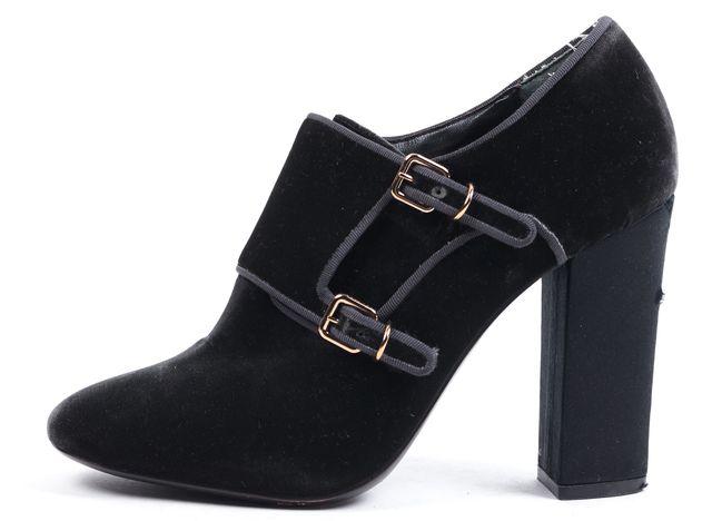 TORY BURCH Dark Gray Velvet Block Heeled Ankle Boots